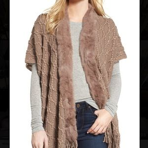 LOVE TOKEN Rabbit Fur Trim & Knit Cardigan